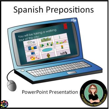 FREE Spanish Prepositions PowerPoint, Adonde Vamos - Around Town,