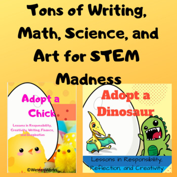 Adopt a Chick and Dinosaur STEM Challenges and Writing prompts