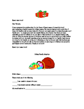 Adopt-a-Family Letter