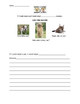 Adopt a Pet Writing Center