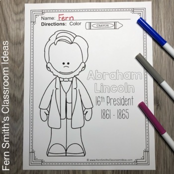 Presidents' Day 19 Page Coloring Book with George Washington and Abraham Lincoln
