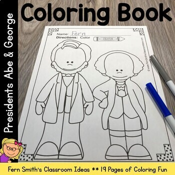 Presidents Day 19 Page Coloring Book with George Washington and Abraham Lincoln