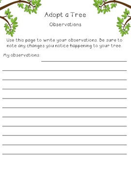 Adopt a Tree Lesson and Journal