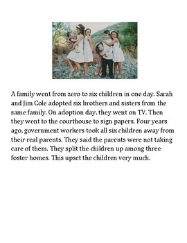 Adoption Reading/Comprehension