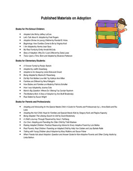 Adoption books to use in the classroom