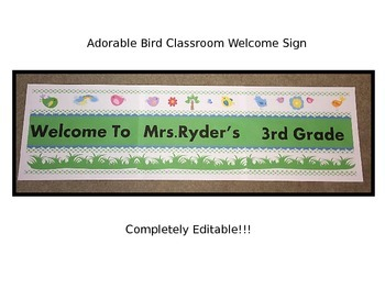 Adorable Birds Welcome Sign for Back-to-School