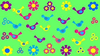 Adorable Birds and Flowers Clip Art  Pink, Blue, Yellow, a