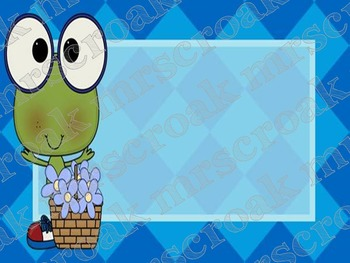 Labels: Frog with blue background, 10 per page
