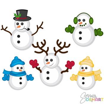 Clipart -Christmas Snowmen Set
