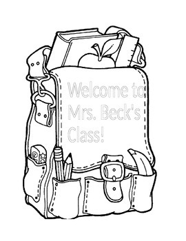 Adorable Coloring Sheet With Your Class Name On It!