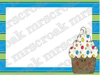 Labels: Cupcakes with green/blue border, 10 per page