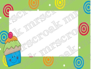Labels: Cupcakes with green border, 10 per page