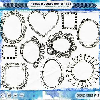 Adorable Doodled Frames, Whimsical Hand Drawn Labels, Phot