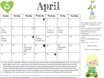 Adorable, Editable Monthly Calendars with Poems or Lit. Excerpts & Fun Facts