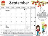 Adorable, Editable Monthly Calendars w/ Poems, Lit. Excerpts & Fun Facts 2019-20