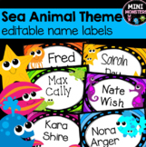 EDITABLE Name Labels Sea Animals