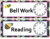 Adorable Flower and Bee Theme Class Schedule