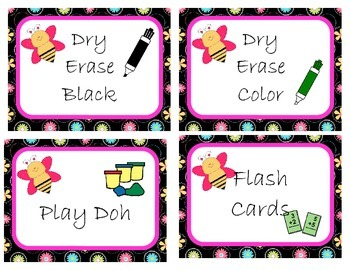 Adorable Flower and Bee Theme Supply Labels