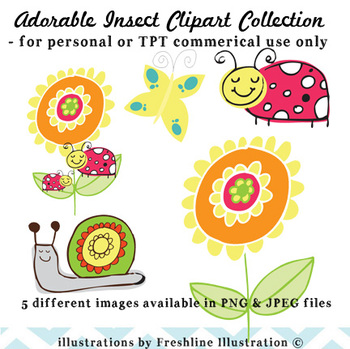 Adorable Insect Clipart Collection for TPT Commercial Use