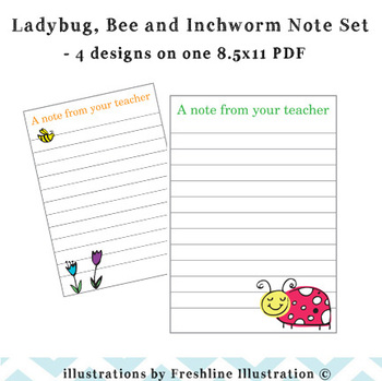 Adorable Ladybug, Bee and Inchworm Teacher Note Set, A Note from Your Teacher