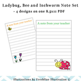 Adorable Ladybug, Bee and Inchworm Teacher Note Set, A Not