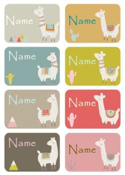 Name Tags - Cute llamas (editable)