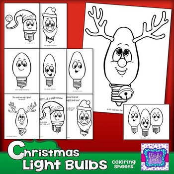 Christmas Light Bulb Coloring Sheets - Rudolph - Santa