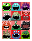 Adorable Monster Valentine's Day Cards, Printable Sheet of 12
