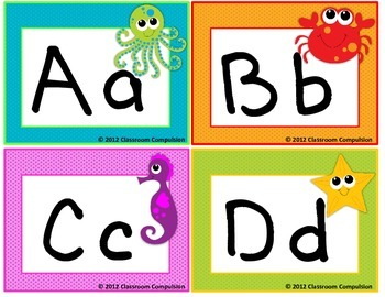 Adorable Ocean Alphabet Cards for Word Wall Headers, Centers, Etc.
