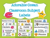 Adorable Ocean Classroom Subject Labels