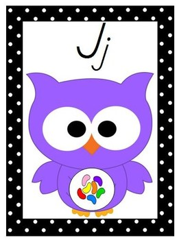 Owl & Polka Dots Alphabet Posters With Pictures