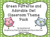 Adorable Owl and Green Pattern Classroom Theme Pack - HUGE!