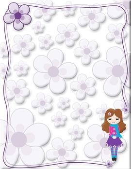 Adorable girl violet background