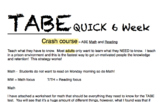 Adult Basic Education/ TABE /high school and middle school basic math/reading