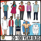 Adult Clip Art Ages 20 Year Old - 100 Years Old  (Clipart
