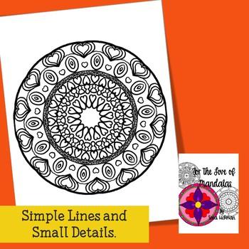 Adult Coloring Book Heart Mandalas for Teens, Teachers and Big Kids
