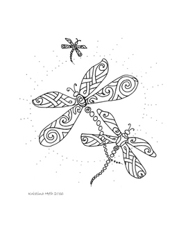 Adult Coloring Book Page Dragonflies Hand Drawn  Instant P