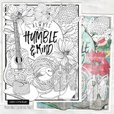 Country Music Coloring Page, Always Stay Humble and Kind Printable Colouring