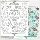 Adult Coloring Page, Brave, Encouraging, Don't give up, Mo