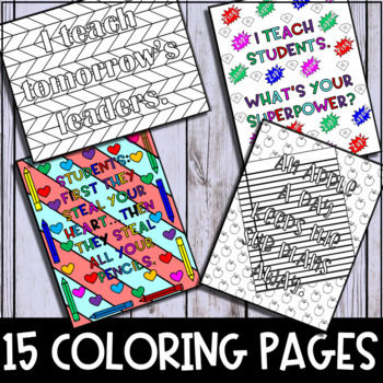 Adult Coloring Pages (15 Pages about Teaching)