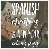 Adult Coloring Pages, Holiday Christmas New Year Spanish