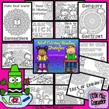 Reading Strategies Coloring Sheets:  Set of 15 Pages
