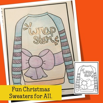 Adult Coloring an Ugly Christmas Sweater Party for Teens, Teachers and Big Kids