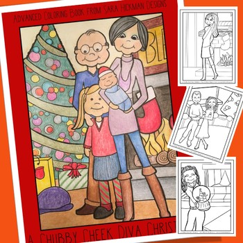 Adult Coloring with Chubby Cheek Diva Christmas for Teens, Teachers and Big Kids