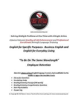 Adult ESL-  Lesson Plan, Student Handout, and Answer Key (Employee Retention)