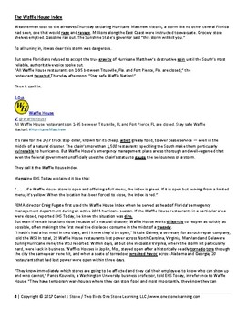 """Adult ESL-  Lesson Plan, Student Handout, and Answer Key """"Waffle House index"""""""