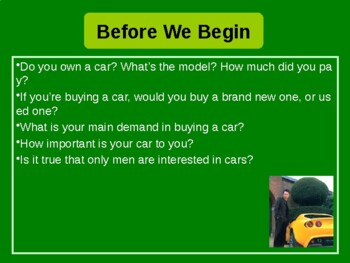 Adult English Learning  (Buying Your First Car)