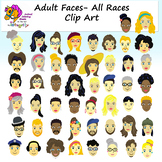 Adult Faces - All Races Clip Art