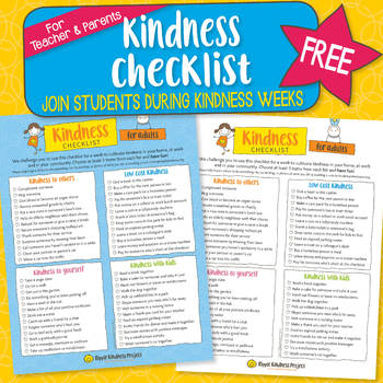 Kindness Checklist for Parents/Teacher - US Letter
