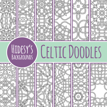 Adult Level Color In Celtic Doodle Backgrounds / Digital Papers Clip Art